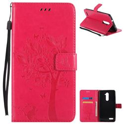 Embossing Butterfly Tree Leather Wallet Case for ZTE Zmax Pro Z981 - Rose