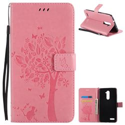 Embossing Butterfly Tree Leather Wallet Case for ZTE Zmax Pro Z981 - Pink