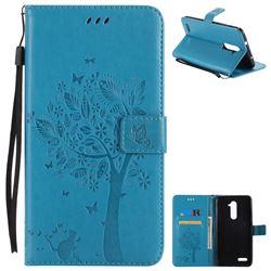 Embossing Butterfly Tree Leather Wallet Case for ZTE Zmax Pro Z981 - Blue