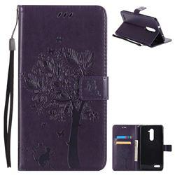 Embossing Butterfly Tree Leather Wallet Case for ZTE Zmax Pro Z981 - Purple