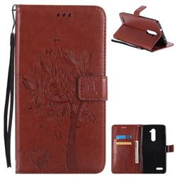 Embossing Butterfly Tree Leather Wallet Case for ZTE Zmax Pro Z981 - Brown