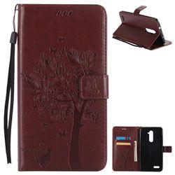 Embossing Butterfly Tree Leather Wallet Case for ZTE Zmax Pro Z981 - Coffee