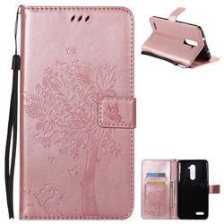 Embossing Butterfly Tree Leather Wallet Case for ZTE Zmax Pro Z981 - Rose Pink