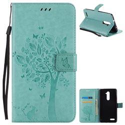 Embossing Butterfly Tree Leather Wallet Case for ZTE Zmax Pro Z981 - Cyan
