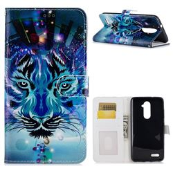 Ice Wolf 3D Relief Oil PU Leather Wallet Case for ZTE Zmax Pro Z981