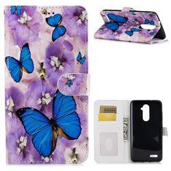 Purple Flowers Butterfly 3D Relief Oil PU Leather Wallet Case for ZTE Zmax Pro Z981