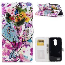 Flower Elephant 3D Relief Oil PU Leather Wallet Case for ZTE Zmax Pro Z981