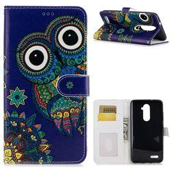 Folk Owl 3D Relief Oil PU Leather Wallet Case for ZTE Zmax Pro Z981