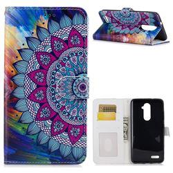 Mandala Flower 3D Relief Oil PU Leather Wallet Case for ZTE Zmax Pro Z981