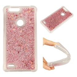 Dynamic Liquid Glitter Sand Quicksand Star TPU Case for ZTE Blade Z Max Z982 - Diamond Rose