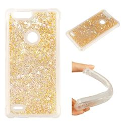 Dynamic Liquid Glitter Sand Quicksand Star TPU Case for ZTE Blade Z Max Z982 - Diamond Gold