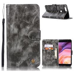 Luxury Retro Leather Wallet Case for ZTE Blade Z Max Z982 - Gray