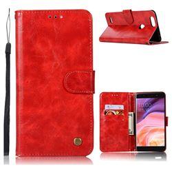 Luxury Retro Leather Wallet Case for ZTE Blade Z Max Z982 - Red