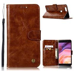 Luxury Retro Leather Wallet Case for ZTE Blade Z Max Z982 - Brown
