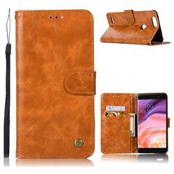 Luxury Retro Leather Wallet Case for ZTE Blade Z Max Z982 - Golden