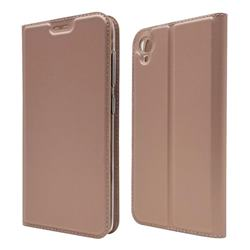 Ultra Slim Card Magnetic Automatic Suction Leather Wallet Case for Asus ZenFone Live (L1) ZA550KL - Rose Gold