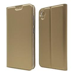 Ultra Slim Card Magnetic Automatic Suction Leather Wallet Case for Asus ZenFone Live (L1) ZA550KL - Champagne