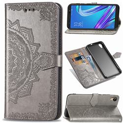 Embossing Imprint Mandala Flower Leather Wallet Case for Asus ZenFone Live (L1) ZA550KL - Gray