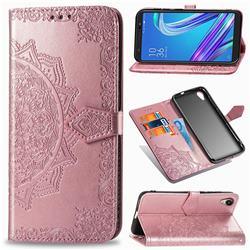 Embossing Imprint Mandala Flower Leather Wallet Case for Asus ZenFone Live (L1) ZA550KL - Rose Gold