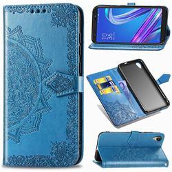 Embossing Imprint Mandala Flower Leather Wallet Case for Asus ZenFone Live (L1) ZA550KL - Blue