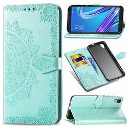 Embossing Imprint Mandala Flower Leather Wallet Case for Asus ZenFone Live (L1) ZA550KL - Green
