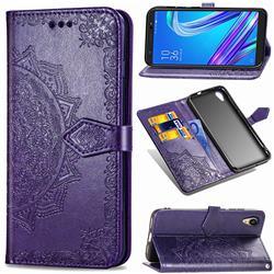 Embossing Imprint Mandala Flower Leather Wallet Case for Asus ZenFone Live (L1) ZA550KL - Purple