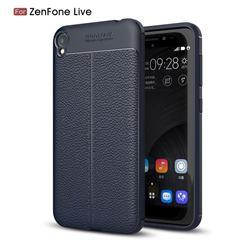 Luxury Auto Focus Litchi Texture Silicone TPU Back Cover for Asus Zenfone Live ZB501KL / Zenfone 3 Go - Dark Blue