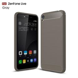 Luxury Carbon Fiber Brushed Wire Drawing Silicone TPU Back Cover for Asus Zenfone Live ZB501KL / Zenfone 3 Go - Gray