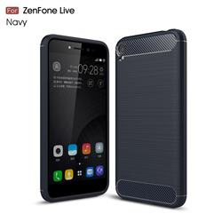 Luxury Carbon Fiber Brushed Wire Drawing Silicone TPU Back Cover for Asus Zenfone Live ZB501KL / Zenfone 3 Go - Navy