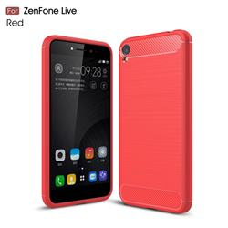 Luxury Carbon Fiber Brushed Wire Drawing Silicone TPU Back Cover for Asus Zenfone Live ZB501KL / Zenfone 3 Go - Red