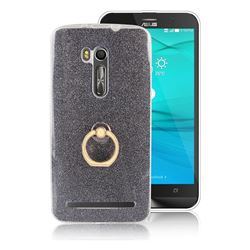 Luxury Soft TPU Glitter Back Ring Cover with 360 Rotate Finger Holder Buckle for Asus Zenfone Go ZB551KL - Black