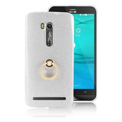 Luxury Soft TPU Glitter Back Ring Cover with 360 Rotate Finger Holder Buckle for Asus Zenfone Go ZB551KL - White