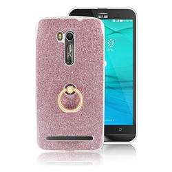 Luxury Soft TPU Glitter Back Ring Cover with 360 Rotate Finger Holder Buckle for Asus Zenfone Go ZB551KL - Pink