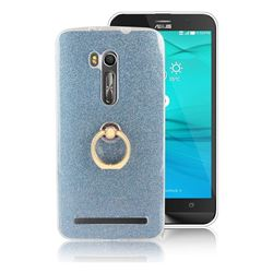 Luxury Soft TPU Glitter Back Ring Cover with 360 Rotate Finger Holder Buckle for Asus Zenfone Go ZB551KL - Blue