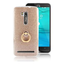 Luxury Soft TPU Glitter Back Ring Cover with 360 Rotate Finger Holder Buckle for Asus Zenfone Go ZB551KL - Golden