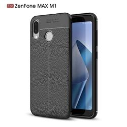 Luxury Auto Focus Litchi Texture Silicone TPU Back Cover for Asus Zenfone Max (M1) ZB555KL - Black