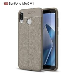Luxury Auto Focus Litchi Texture Silicone TPU Back Cover for Asus Zenfone Max (M1) ZB555KL - Gray
