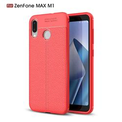 Luxury Auto Focus Litchi Texture Silicone TPU Back Cover for Asus Zenfone Max (M1) ZB555KL - Red
