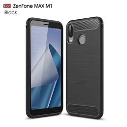 Luxury Carbon Fiber Brushed Wire Drawing Silicone TPU Back Cover for Asus Zenfone Max (M1) ZB555KL - Black