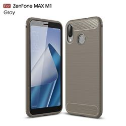 Luxury Carbon Fiber Brushed Wire Drawing Silicone TPU Back Cover for Asus Zenfone Max (M1) ZB555KL - Gray