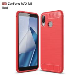 Luxury Carbon Fiber Brushed Wire Drawing Silicone TPU Back Cover for Asus Zenfone Max (M1) ZB555KL - Red