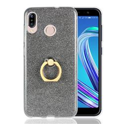 Luxury Soft TPU Glitter Back Ring Cover with 360 Rotate Finger Holder Buckle for Asus Zenfone Max (M1) ZB555KL - Black