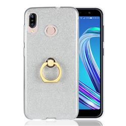 Luxury Soft TPU Glitter Back Ring Cover with 360 Rotate Finger Holder Buckle for Asus Zenfone Max (M1) ZB555KL - White