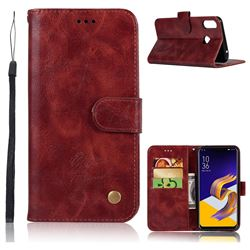 Luxury Retro Leather Wallet Case for Asus Zenfone Max (M1) ZB555KL - Wine Red