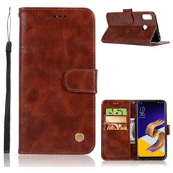 Luxury Retro Leather Wallet Case for Asus Zenfone Max (M1) ZB555KL - Brown