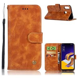 Luxury Retro Leather Wallet Case for Asus Zenfone Max (M1) ZB555KL - Golden