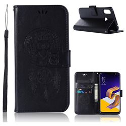 Intricate Embossing Owl Campanula Leather Wallet Case for Asus Zenfone Max (M1) ZB555KL - Black