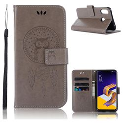 Intricate Embossing Owl Campanula Leather Wallet Case for Asus Zenfone Max (M1) ZB555KL - Grey