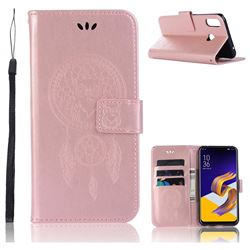 Intricate Embossing Owl Campanula Leather Wallet Case for Asus Zenfone Max (M1) ZB555KL - Rose Gold