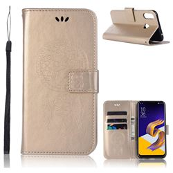 Intricate Embossing Owl Campanula Leather Wallet Case for Asus Zenfone Max (M1) ZB555KL - Champagne